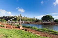Mening van de beroemde slingerende brug in Hanapepe Kauai stock fotografie