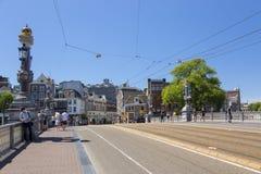 Mening van de Blauwe Brug over de Amstel-Rivier Royalty-vrije Stock Foto's