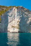 Mening van de blauwe holen van Keri in het eiland van Zakynthos Zante, in Griekenland Stock Afbeelding