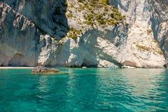 Mening van de blauwe holen van Keri in het eiland van Zakynthos Zante, in Griekenland Stock Afbeeldingen