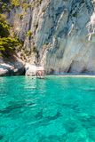 Mening van de blauwe holen van Keri in het eiland van Zakynthos Zante, in Griekenland Royalty-vrije Stock Foto
