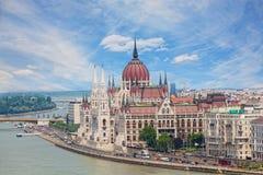 Mening van de bouw van het Hongaarse parlement Royalty-vrije Stock Afbeelding