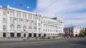Mening van de bouw van stadsbeleid, Omsk, Rusland Stock Fotografie