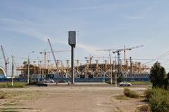 Mening van de bouwwerf van het stadion Stock Afbeelding