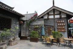Mening van de brede en smalle steeg van Chengdu stock afbeeldingen