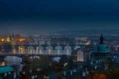 Mening van de bruggen van Praag Stock Foto