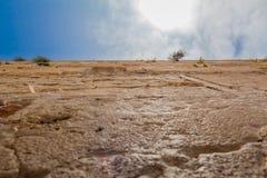 Mening van de close-up de lage hoek van de Westelijke Muur in de oude stad van Je Royalty-vrije Stock Foto's
