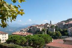 Mening van de Corsicaanse stad van Sartene Stock Afbeeldingen