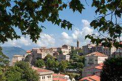 Mening van de Corsicaanse stad van Sartene Royalty-vrije Stock Afbeeldingen