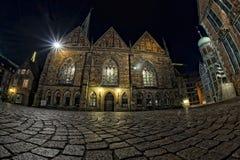Mening van de de stadsnacht van Bremen de oude Royalty-vrije Stock Foto's