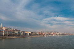 Mening van de dijk van de Donau, Boedapest Royalty-vrije Stock Afbeeldingen