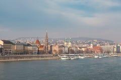 Mening van de dijk van de Donau, Boedapest Royalty-vrije Stock Foto's