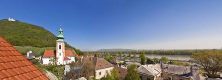Mening van de Donau van Wenen van Kahlenbergerdorf Stock Foto's