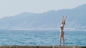Mening van de eilanden in de baai Telephotoschot de vrouw op de golfbreker bekijkt de kust in de mist, langzaam 4k, stock video