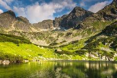 Mening van de Gasienicowa-vallei en het meer van Zielony Staw in Tatr Stock Afbeelding