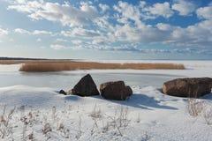 Mening van de Golf van Finland, de winter Stock Afbeelding