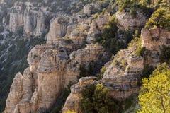 Mening van de Grand Canyon -het Noordenrand van Sprinkhanenpunt Stock Foto