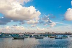 Mening van de haven van Alexandrië Stock Foto