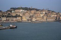 Mening van de haven van Ancona Europa van een cruiseschip 3-4-2016 stock foto