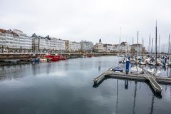Mening van de haven van een Coruna, Spanje Stock Fotografie