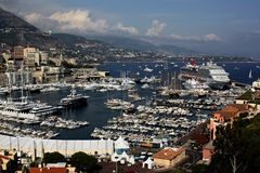 Mening van de haven van Monte Carlo Monaco stock fotografie