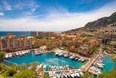 Mening van de haven van Fontvieille, Monaco Stock Afbeeldingen
