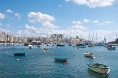 Mening van de haven van Sliema, Malta Royalty-vrije Stock Afbeeldingen