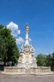 Mening van de het plaagkolom en kasteel in Nitra, Slowakije Het was royalty-vrije stock foto's