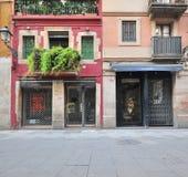 Mening van de het winkelen straat van Barcelona Stock Foto's