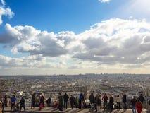 Mening van de heuvel montmatre over de hele stad Parijs, Frankrijk Royalty-vrije Stock Foto's