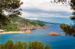 Mening van de heuvel van Tossa de Mar, Costa Brava, Spanje Royalty-vrije Stock Foto