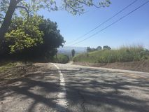 Mening van de heuvels van Hogere Siërra Rd, San Jose Stock Fotografie