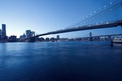 mening van de horizon van Manhattan en de Brug van Brooklyn Royalty-vrije Stock Fotografie