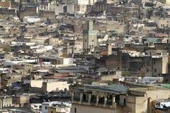 Mening van de huizen van Medina van Fez in Marokko royalty-vrije stock afbeelding
