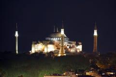 Mening van de Kathedraal van St Sophia Aya Sofia bij nacht, Istanboel Stock Foto