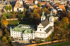 Mening van de Kerk van St Stanislaus Bishop In 1733-1751 ontving de kerk een barok decor Het is één van het beroemdste Pools Stock Foto's