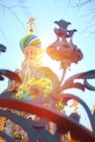 Mening van de koepels van de Verlosser op bloed in heilige-Petersburg Royalty-vrije Stock Foto's
