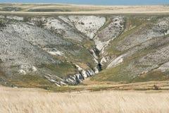 Mening van de krijtbergen in de Don River-vallei, Donskoy-park Royalty-vrije Stock Afbeeldingen