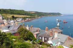 Mening van de kust Cornwall Engeland van Cawsand en Kingsand- Royalty-vrije Stock Afbeelding