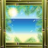 Mening van de kust van het venster van het toevluchthotel vector illustratie