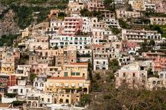 Mening van de Kust van Positano Amalfi Stock Fotografie