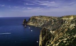 Mening van de kustlijn van de Zwarte Zee Stock Afbeelding