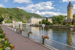 Mening van de kuuroordstad Slecht EMS bij de rivier Lahn in Duitsland Stock Foto