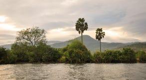 Mening van de Mekong rivier in Dong thap, Vietnam Stock Afbeelding