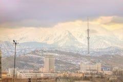 Mening van de mistige stad van Alma Ata, Kazachstan Stock Foto