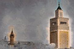 Mening van de Moskee al-Zaytuna en de horizon van Tunis bij dageraad stock illustratie