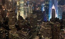Mening van de nacht New York royalty-vrije stock afbeeldingen