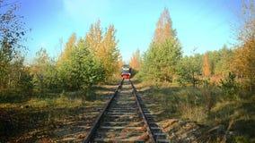 Mening van de naderbij komende locomotief in het de herfstbos stock videobeelden