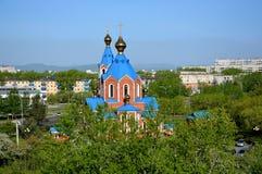 Mening van de Orthodoxe Kathedraal van het Kazan pictogram van de moeder van God in de stad van komsomolsk-op-Amur, Rusland royalty-vrije stock fotografie