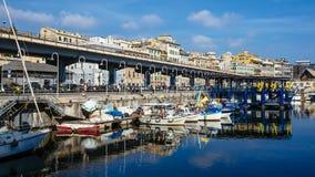 Mening van de oude haven van Genua stock afbeeldingen